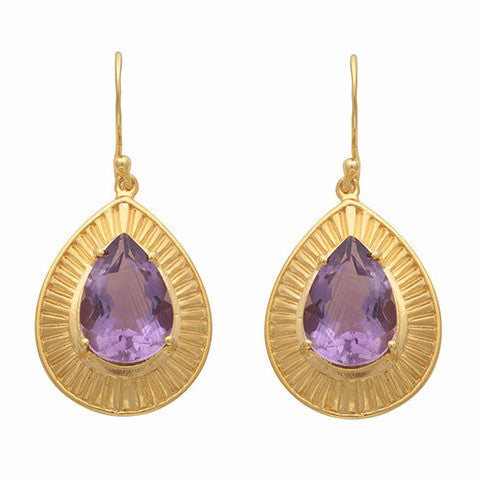 Engraved gold and amethyst teardrop earrings