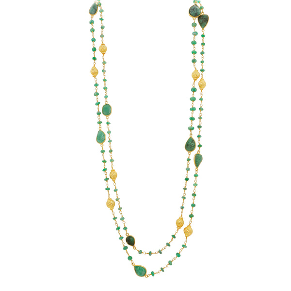 Antique style carved emerald long necklace