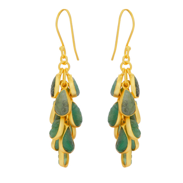 Emerald leaves cluster earrings