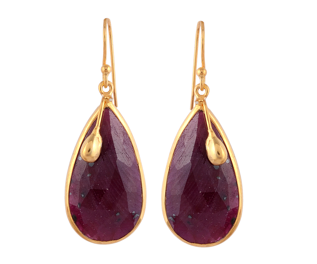 Ruby drop gemstone earrings