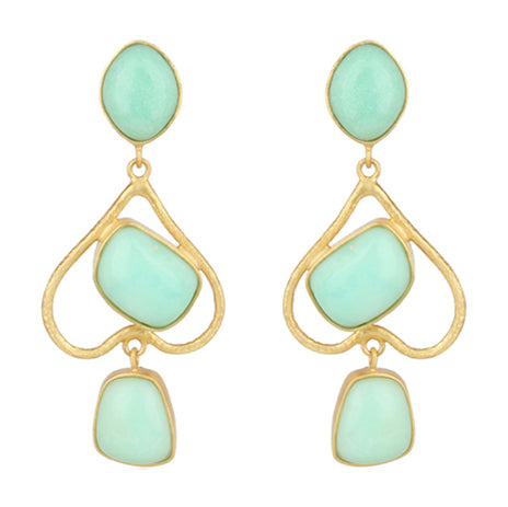 Chrysoprase and gold heart earrings