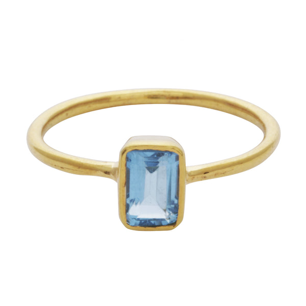 Blue topaz rectangle stacking ring