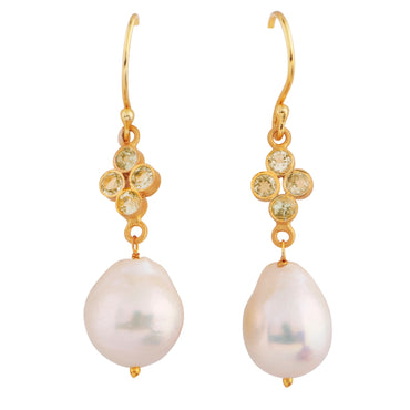Elegant orb earrings with citrine and natural pearl