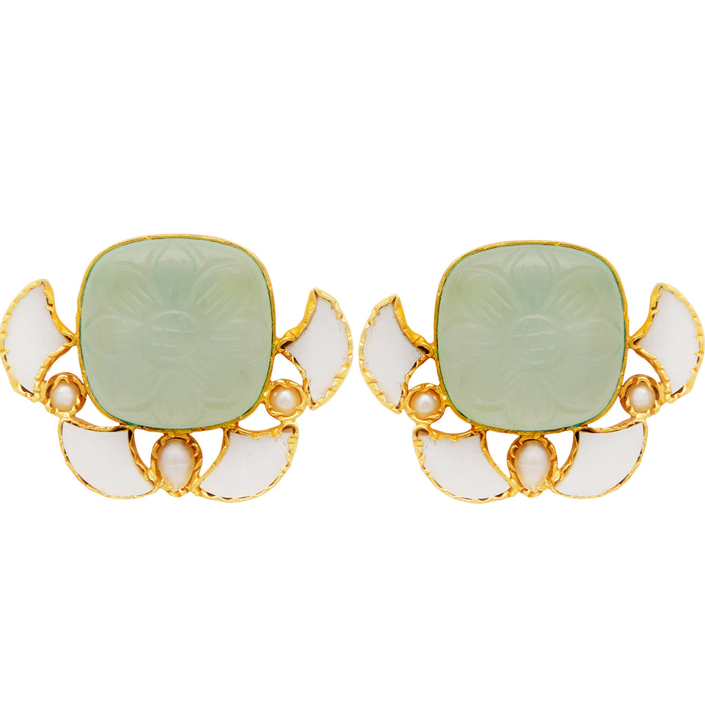Mother of pearl and carved chalcedony earrings