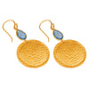 Chalcedony and hammered disc earrings