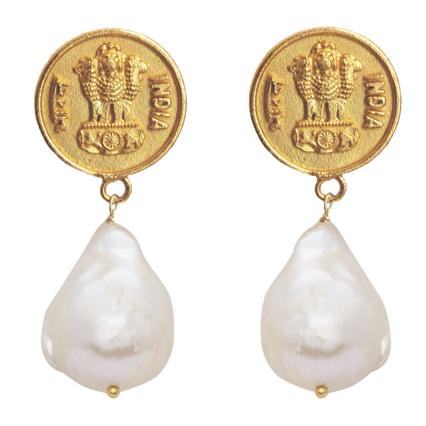 Antique coin and pearl earrings