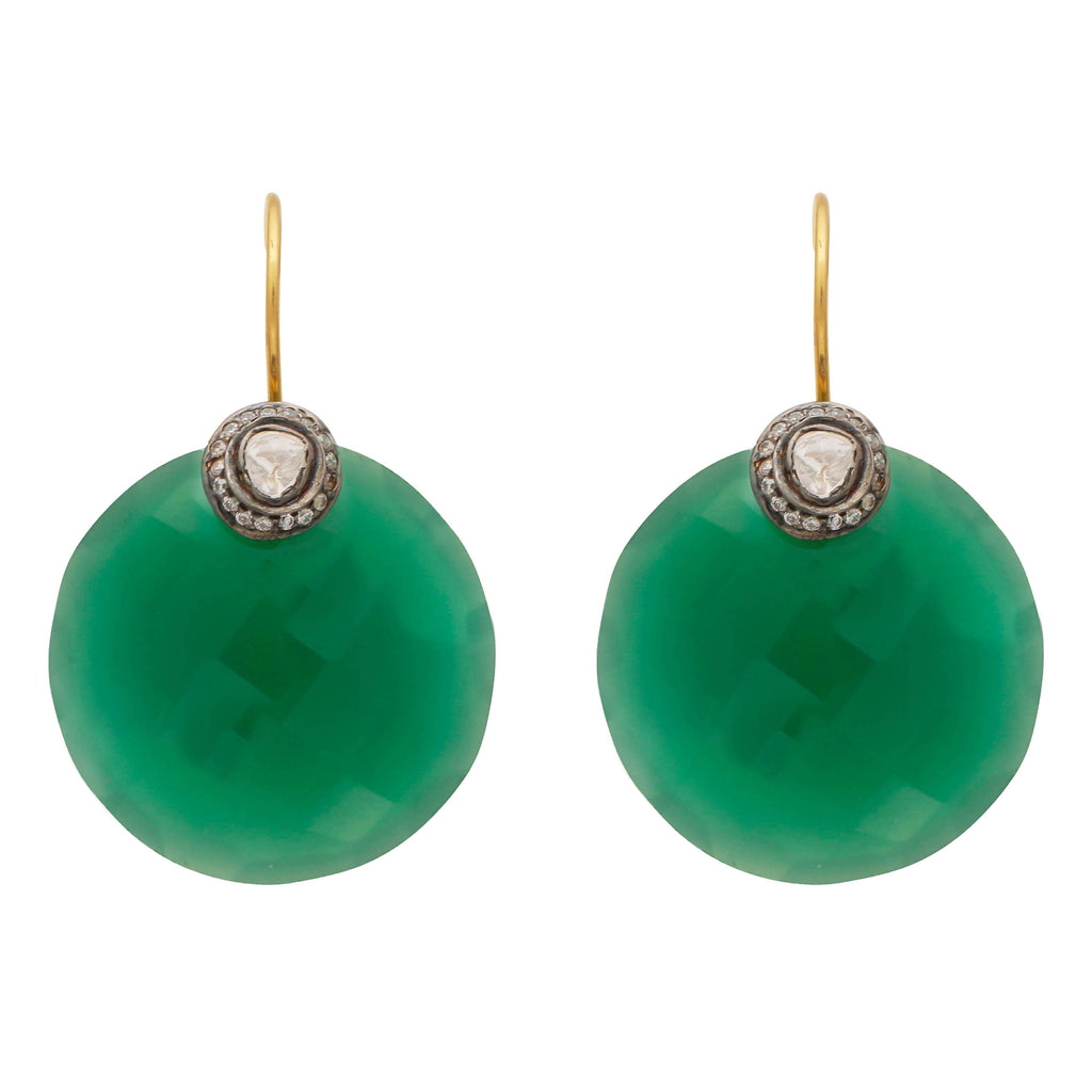 Large green onyx crystal disc earrings