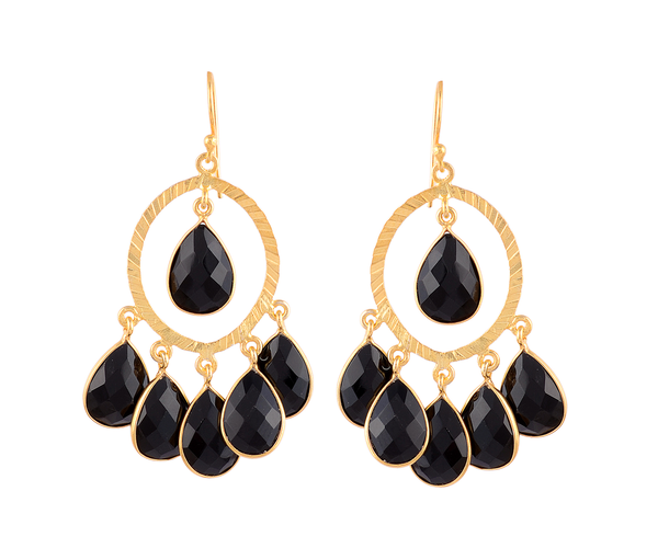 Black spinel hoop cluster earrings
