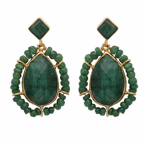 Gold and dyed emerald teardrop earrings