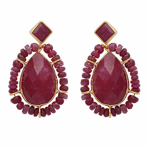 Gold and dyed ruby teardrop earrings