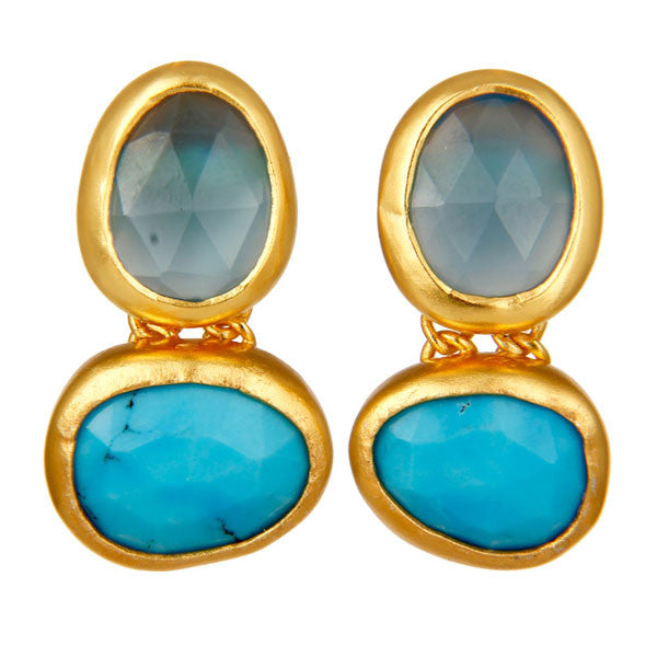 Gold turquoise and chalcedony earrings
