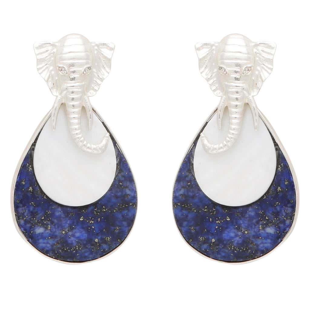 Mother of pearl and lapis elephant silver earrings
