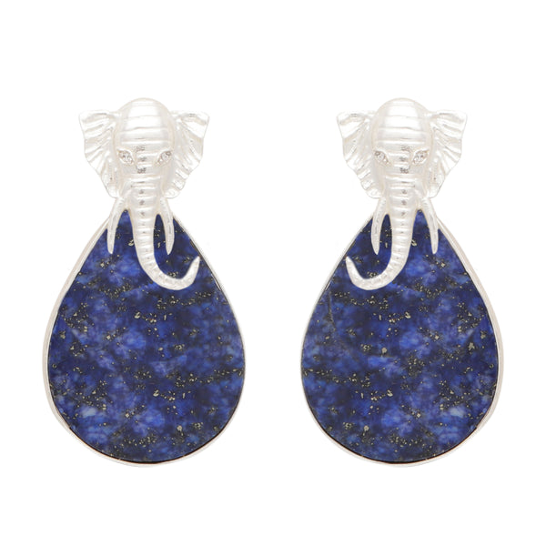 Lapis elephant silver earrings