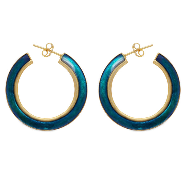 Gold and turquouise large enamel hoops