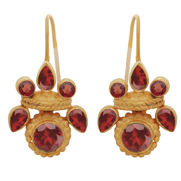 Intricate garnet heritage earrings