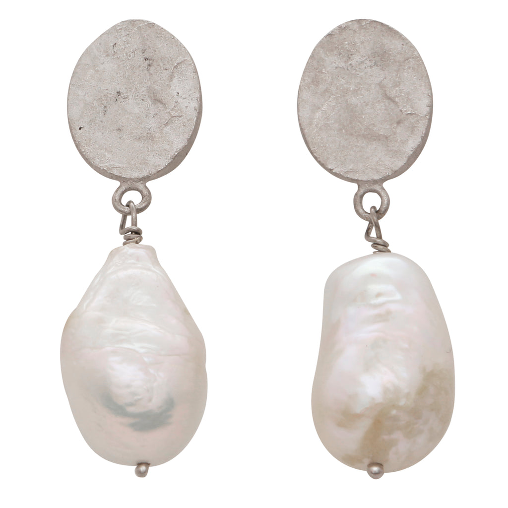 Hammered silver nugget and pearl earrings