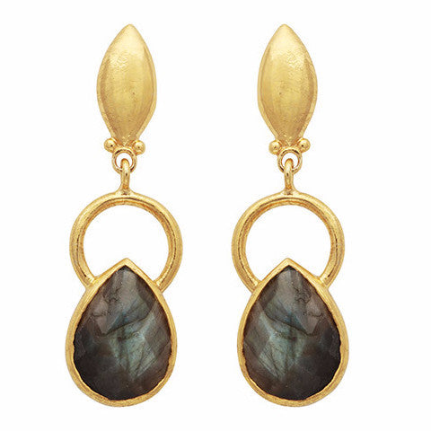 Gold ring and teardrop labradorite earrings
