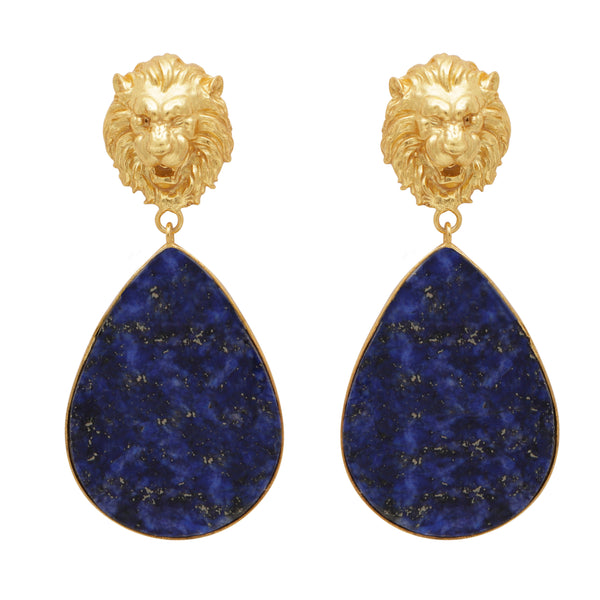 Lapis lion gold earrings