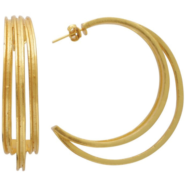 Large triple line gold hoops