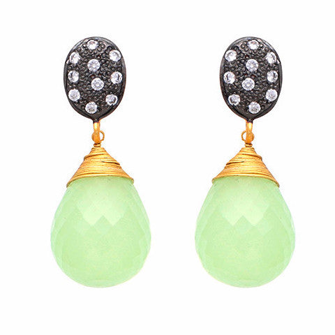 Crystal and chalcedony drop earrings