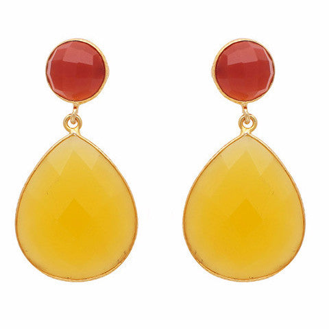 Carnelian and yellow chalcedony double drop earrings