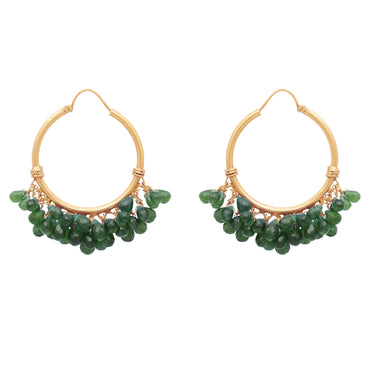 Celestial gold and green onyx cluster hoops