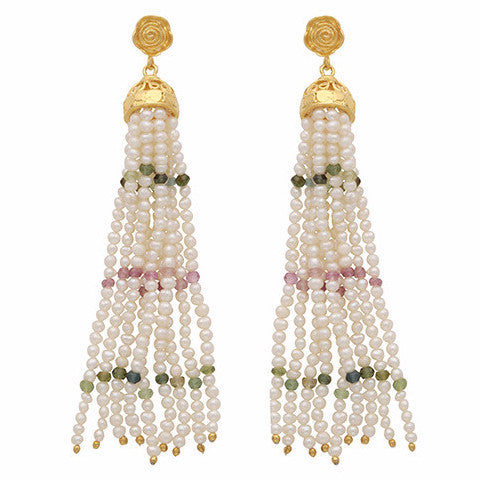 Pearl, rose quartz and green onyx waterfall earrings
