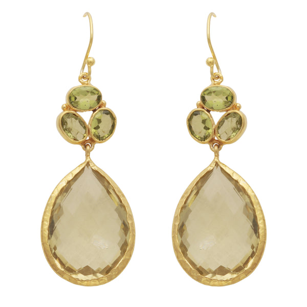 Gold peridot and lemon topaz teardrop earrings