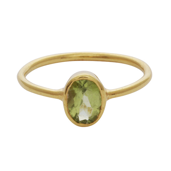 Peridot oval stacking ring