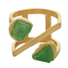 Rough cut peridot linear ring