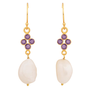 Elegant orb earrings with amethyst and natural pearl