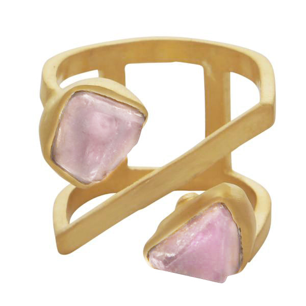 Rough cut rose quartz linear ring