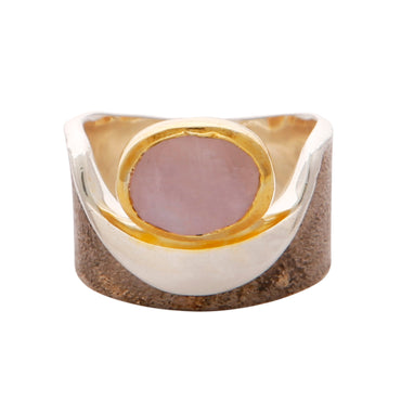 Rose quartz gold and silver pocket ring