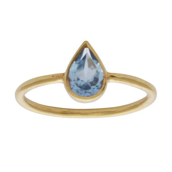 Blue topaz teardrop stacking ring