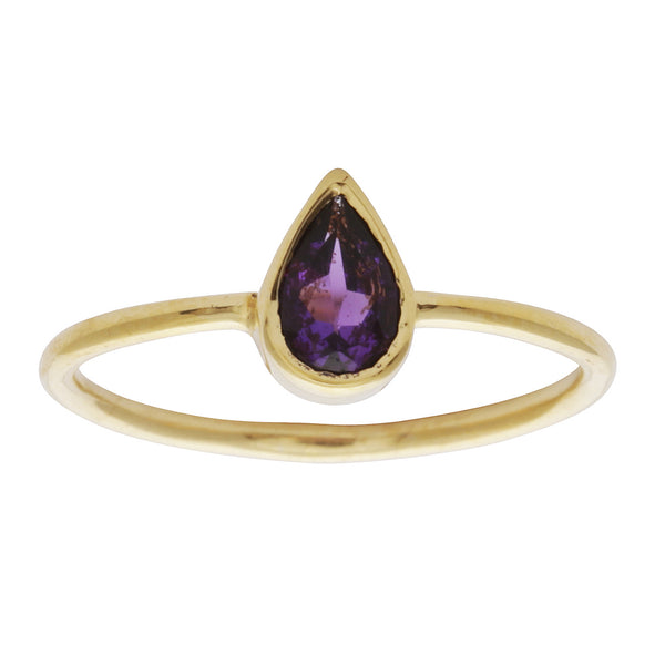 Amethyst teardrop stacking ring