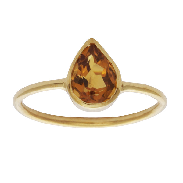 Citrine teardrop stacking ring