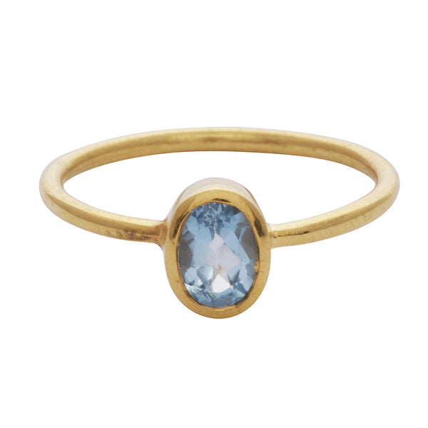 Blue topaz oval stacking ring