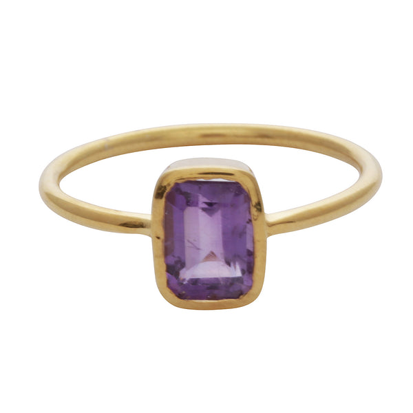 Amethyst rectangle stacking ring