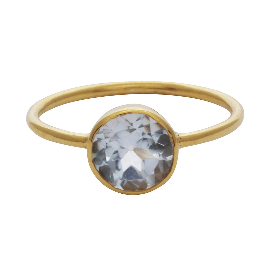 Blue quartz round stacking ring