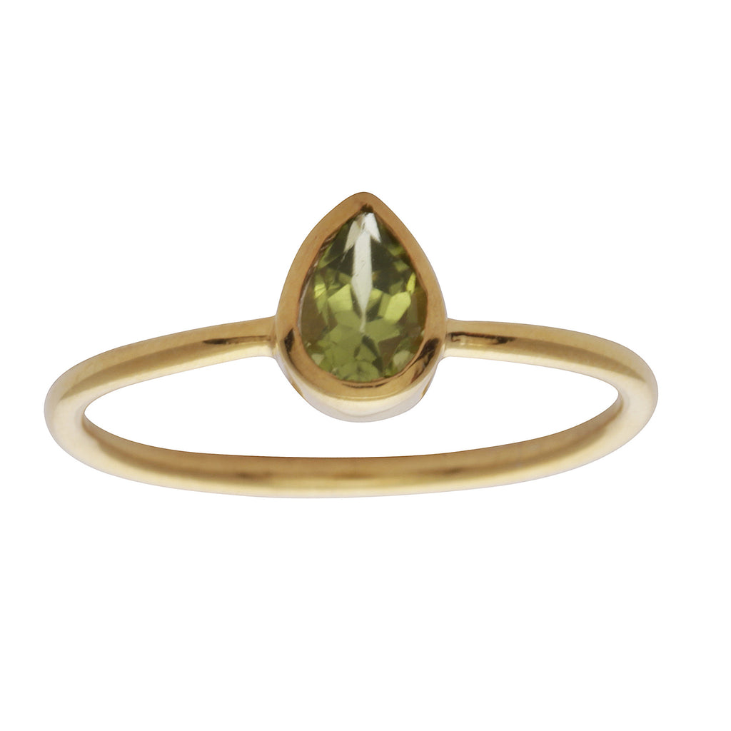 Peridot teardrop stacking ring