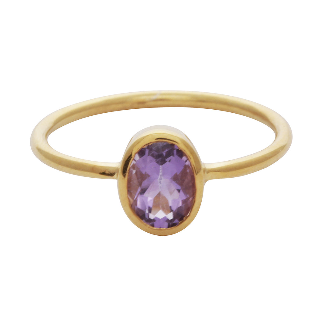 Amethyst oval stacking ring