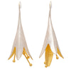 Gold and silver statement flower drop earrings