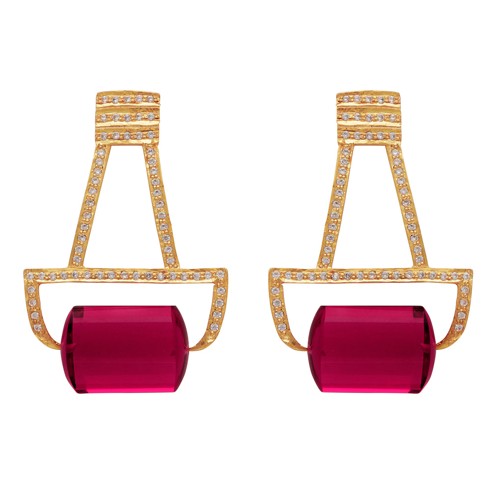 Hydro tourmaline gold deco and crystal earrings