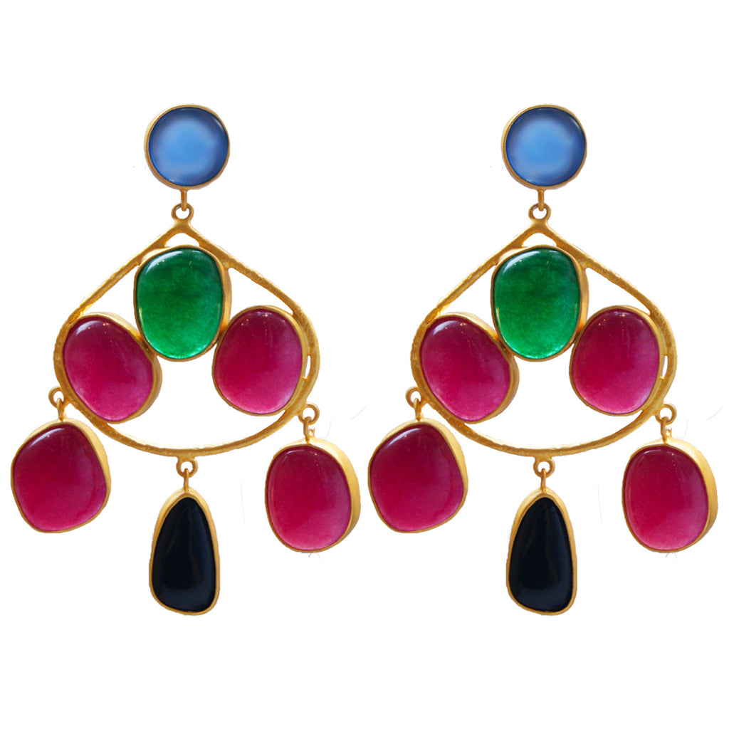 Chalcedony, aventurine, and black onyx gold statement earrings.