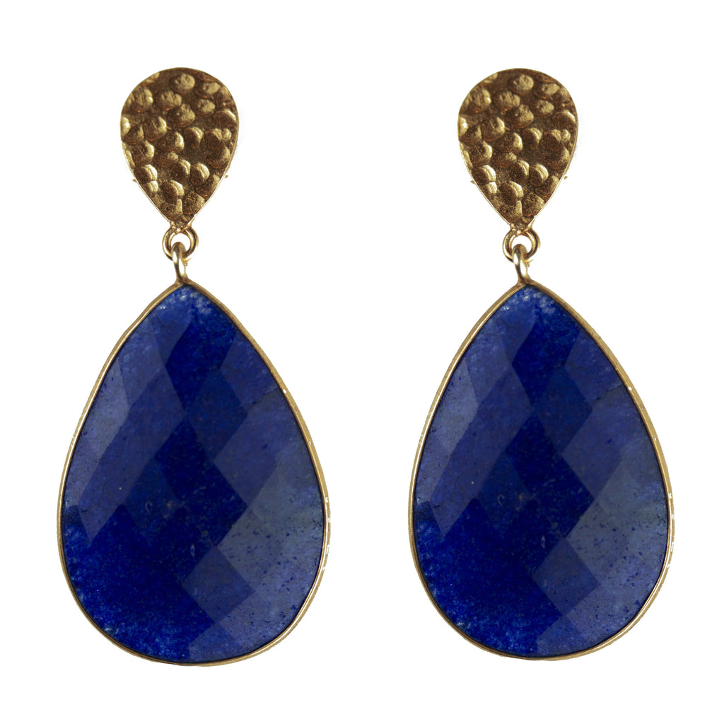 Double drop dyed sapphire and golden nugget earrings