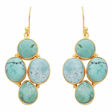 Oval and circle turquoise earrings