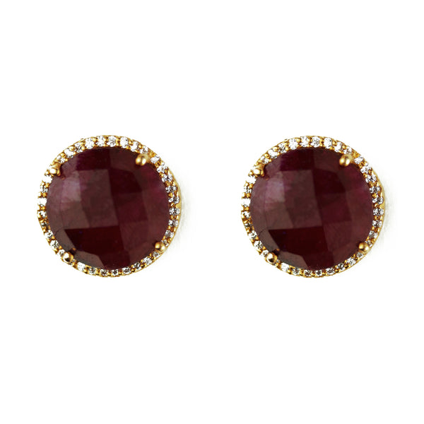 Dyed ruby and crystal studs