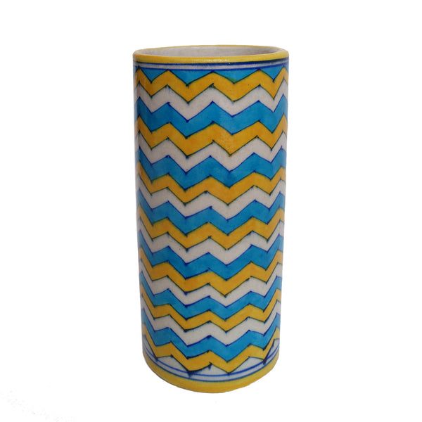 Small ornamental yellow and blue geometric vase