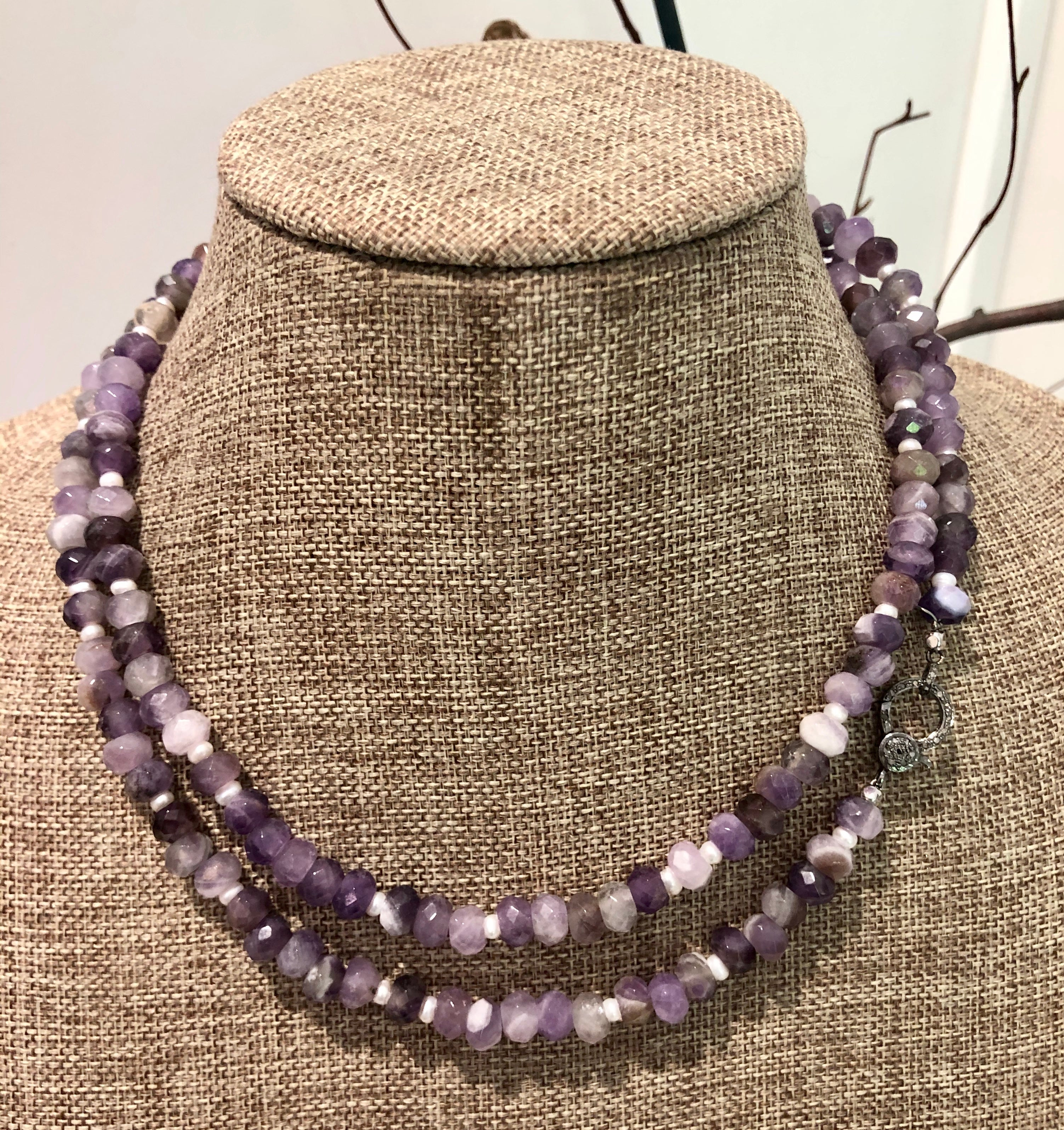 amethyst, pearl and pave diamond hook necklace