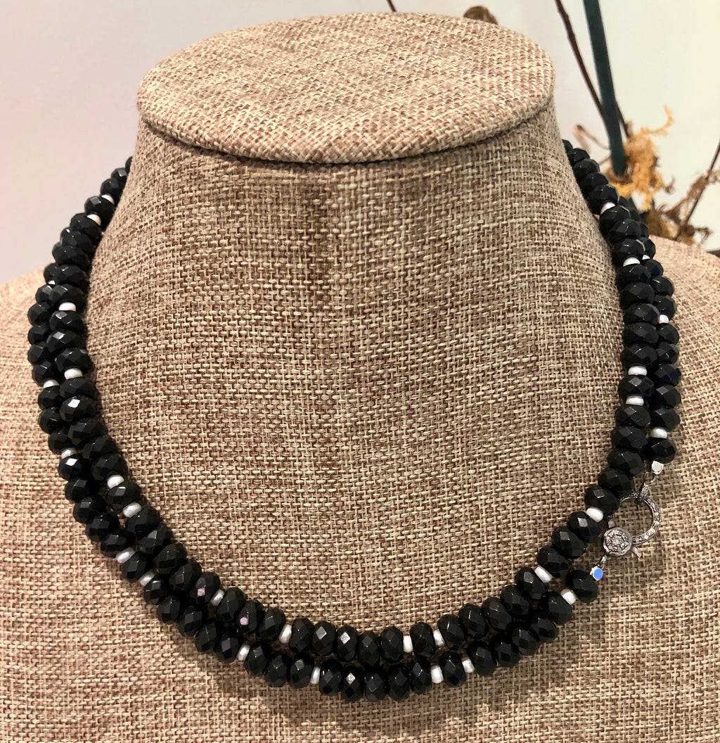 black obsidian, pearl and pave diamond hook necklace